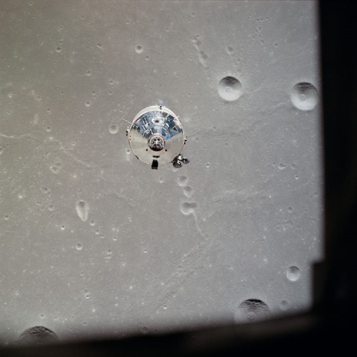 The Moon Lander as seen from the orbiting vehicle
