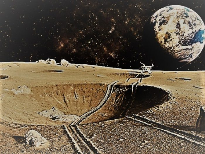 Depiction of a colony on the Moon