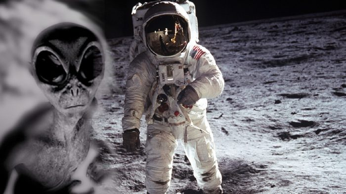 An alien figure blended into a picture of an astronaut on the Moon