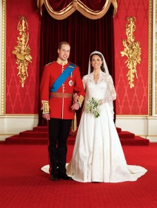 Image shows William and Kate after the wedding in Buckingham Palace - now appearing as the Duke and Duchess of Cambridge.