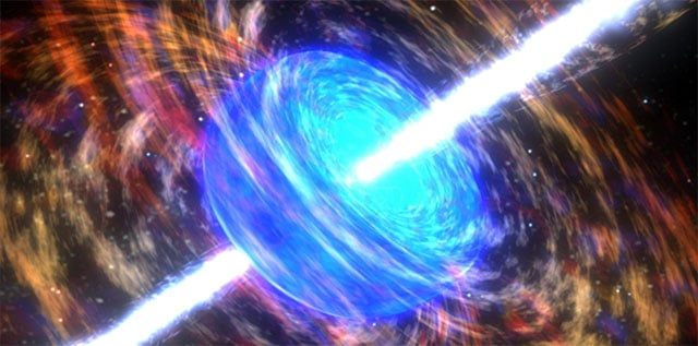 Artists impression of a gamma ray burst.