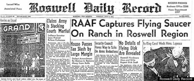 The official news story from the Roswell Daily Record