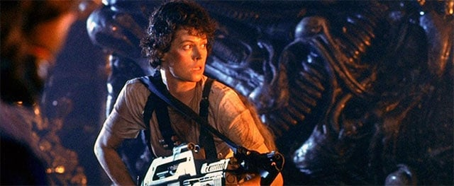 "Ripley holding a gun in the 1986 film, ""Aliens""."