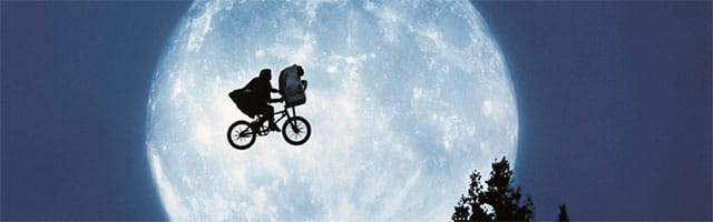 Bicycle flying in front of moon - from the movie ET