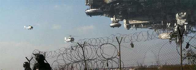 "Spacecraft attacking in the 2009 film, ""District 9"""