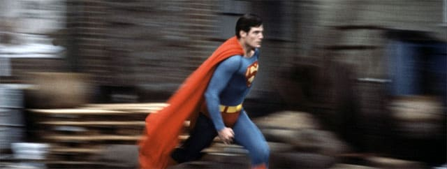 Superman running from the film Superman II (1980)