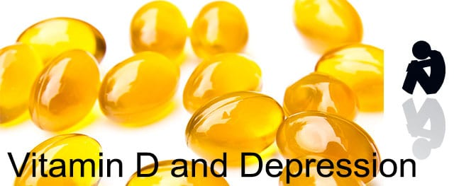 Vitamin D tablets with depressed person on right
