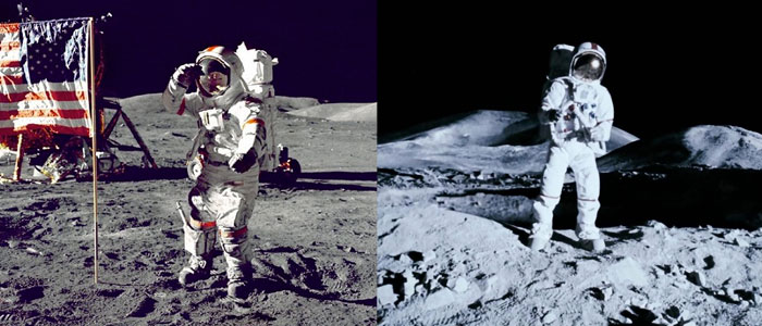 Astronauts on the surface of the moon