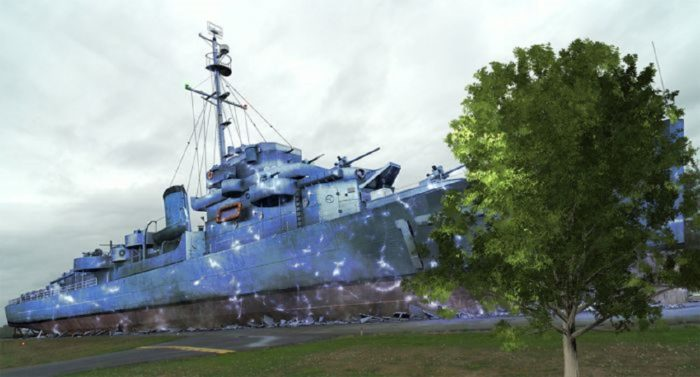 Depiction of the Philadelphia Experiment - a Navy ship with electrical discharge
