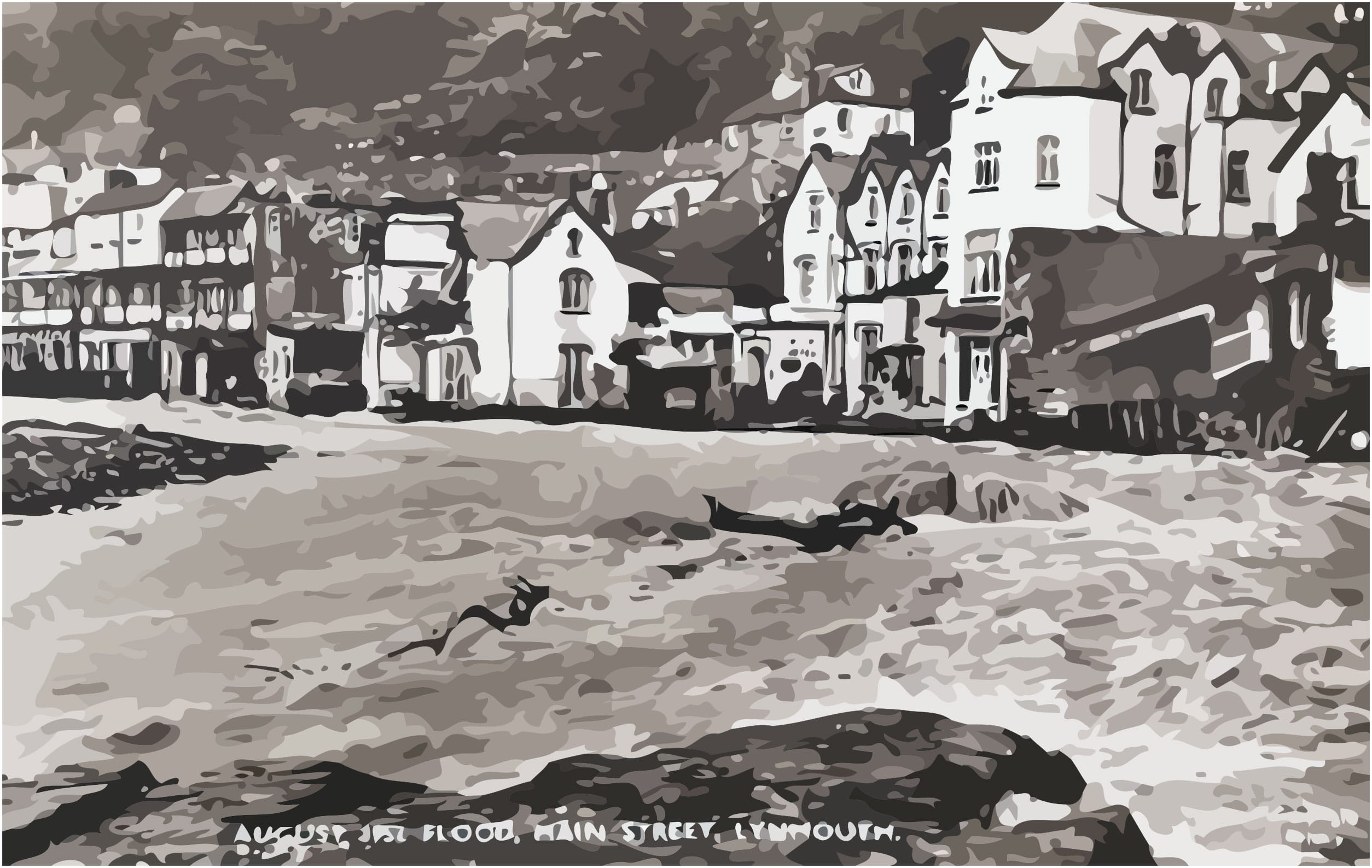 Main Street Lynmouth after the flood