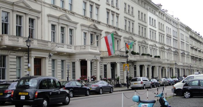 A picture of the Iranian Embassy in London