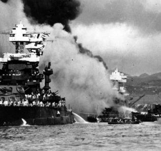 Damaged boats at Pearl Harbor