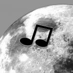 Music icon and image of the far side of the Moon