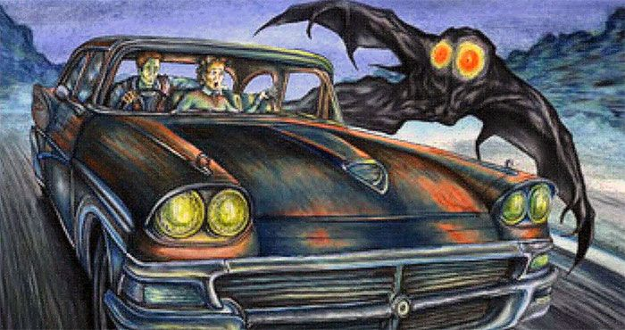 Artist's drawing of Mothman flying beside car