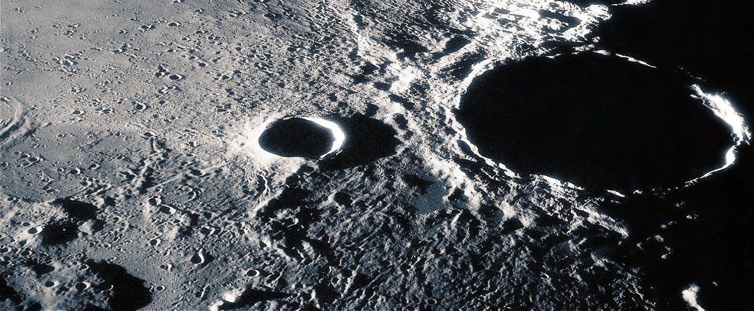 Dark side of the moon showing craters