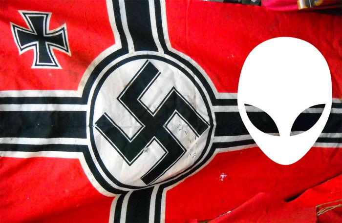 Third Reich flag with alien face on flag