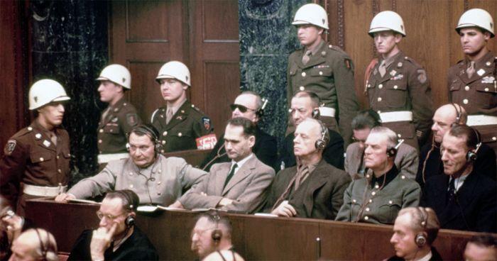 Hess on trial at Nuremberg. Credit: History.com.