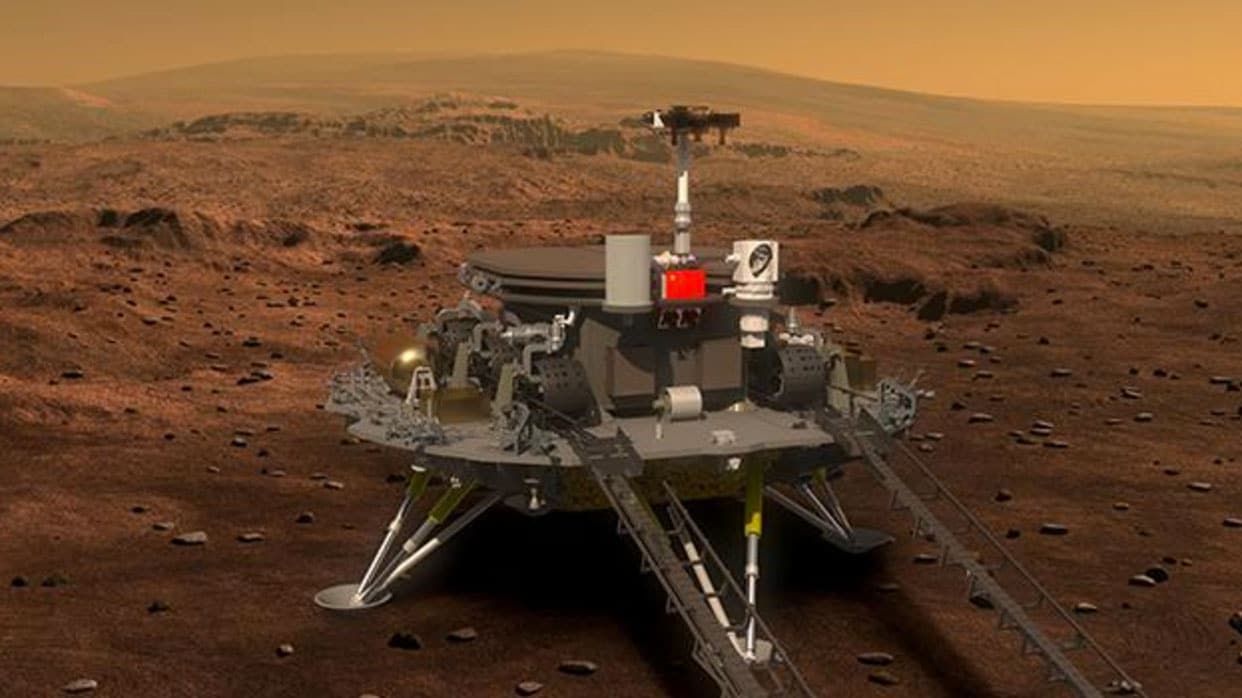 Artist impression of the Chinese rover on the surface of Mars.
