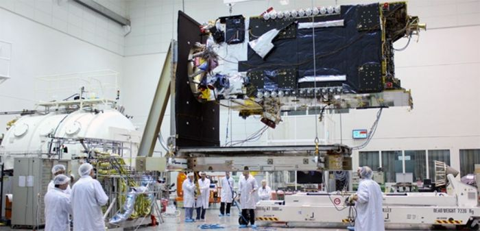 "Construction of the ""Facebook"" satellite."