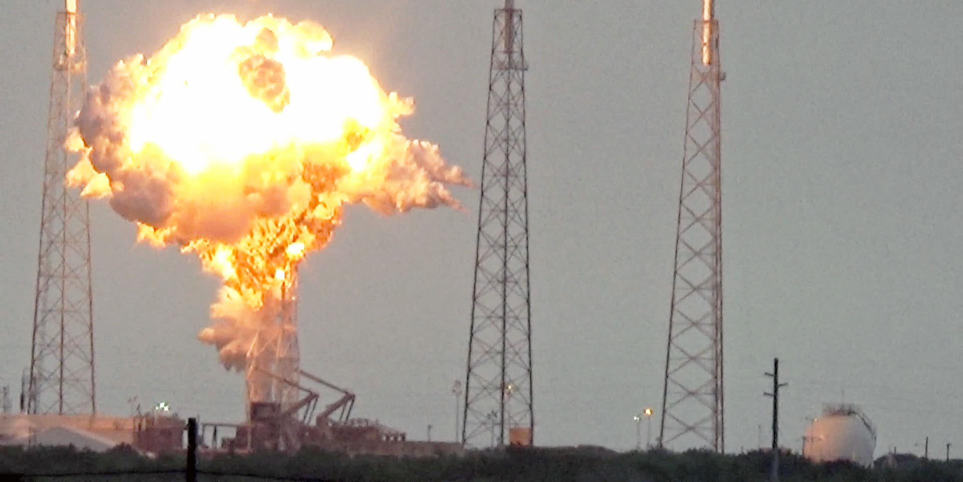 The Falcon 9 rocket exploding on the launchpad.