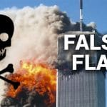 False Flag intro artwork featuring the 9/11 attack.