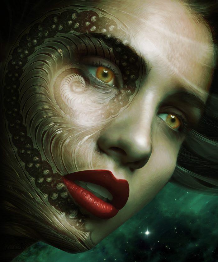 A depiction of an alien-human hybrid