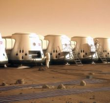 Artist's impression of the Mars One pods on the Martian surface.
