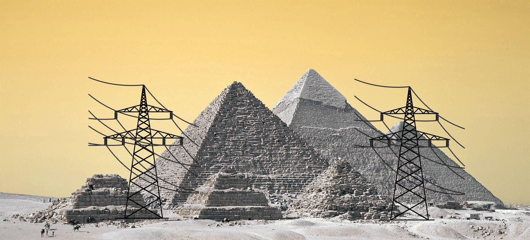 Power lines on the Pyramid of Giza.