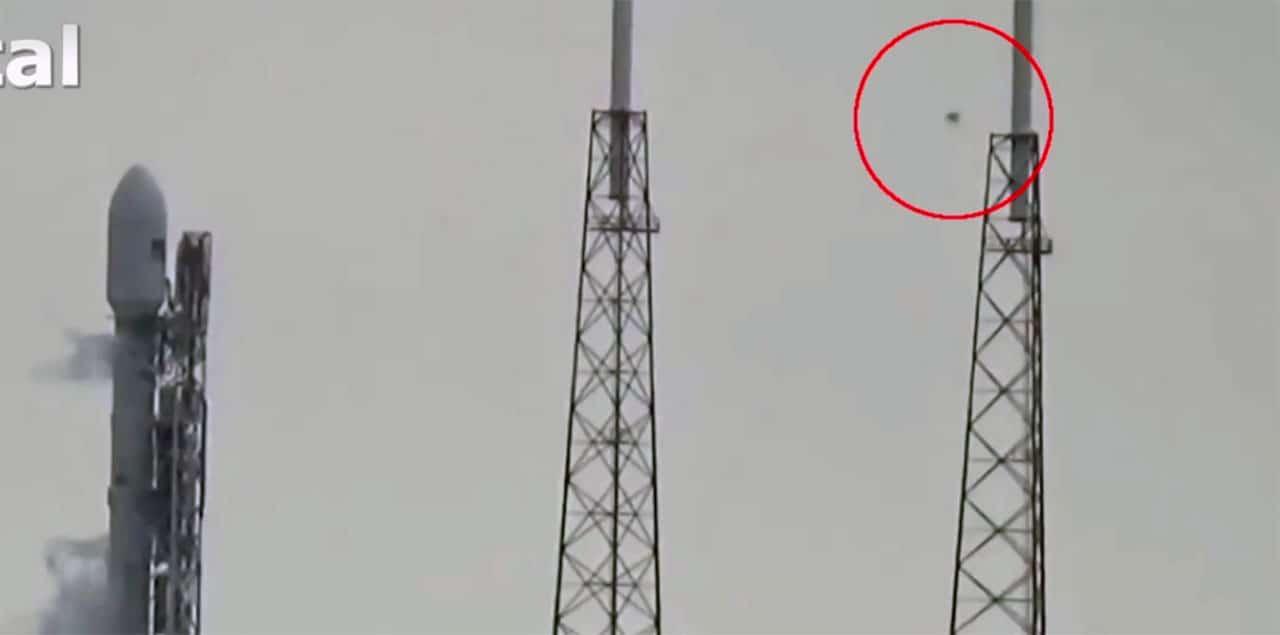 UFO seen approaching rocket.