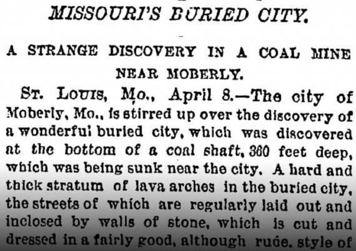 Newspaper clipping regarding the find of Giants in Moberly