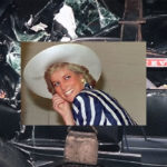 Princess Diana in foreground, her car after the accident in the background.