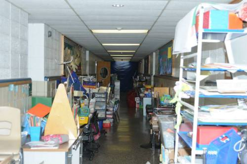 Sandy Hook school hallway crammed with 'stuff'