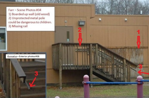 Sandy Hook school exterior staircase