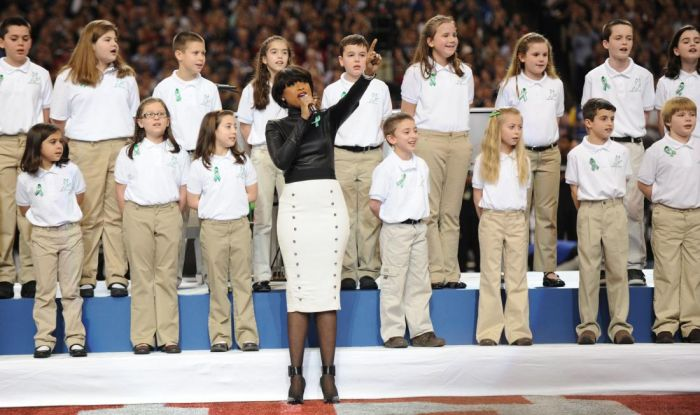 Sandy Hook Elementary School Chorus at the Superbowl with Jennifer Hudson.