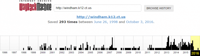 Wayback Machine record of Windham Schools website activity