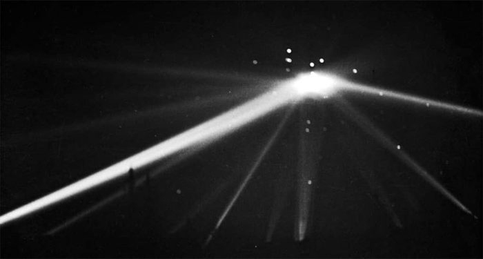 Lights and search lights over LA (1942).