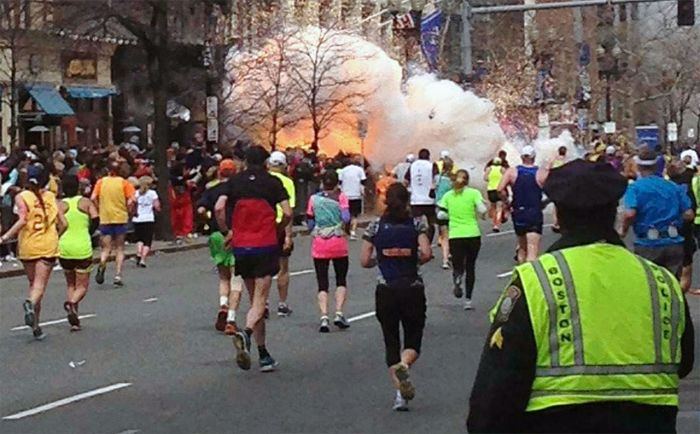 Second explosion near finishing line of Boston Marathon.