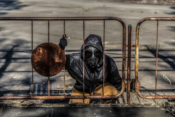 Person in bio suit at Chernobyl