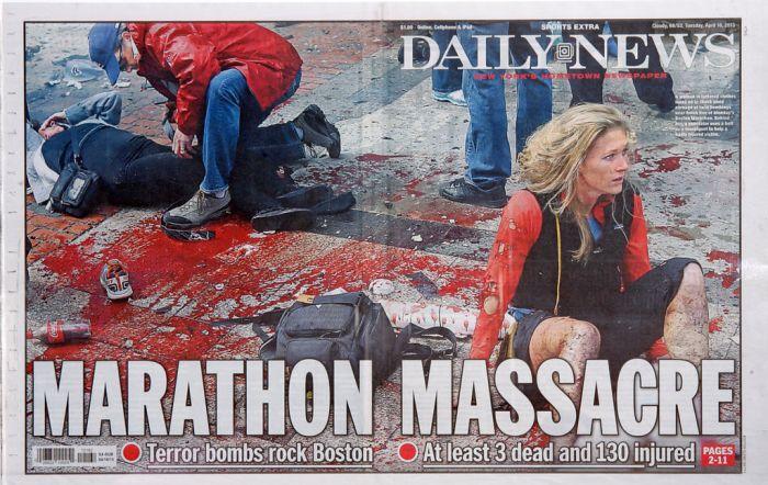 One of the iconic, images of the Boston Marathon bombing