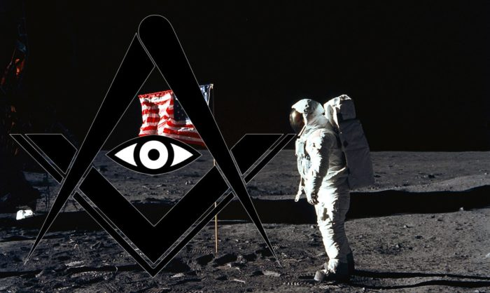 Freemason logo over Apollo 11 footage.