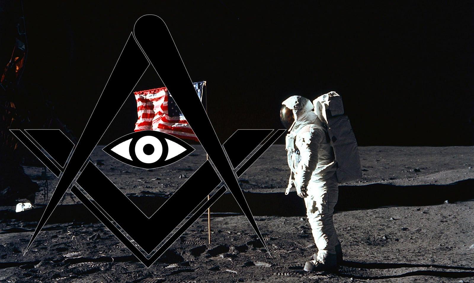 Freemason logo over Apollo 11 footage.