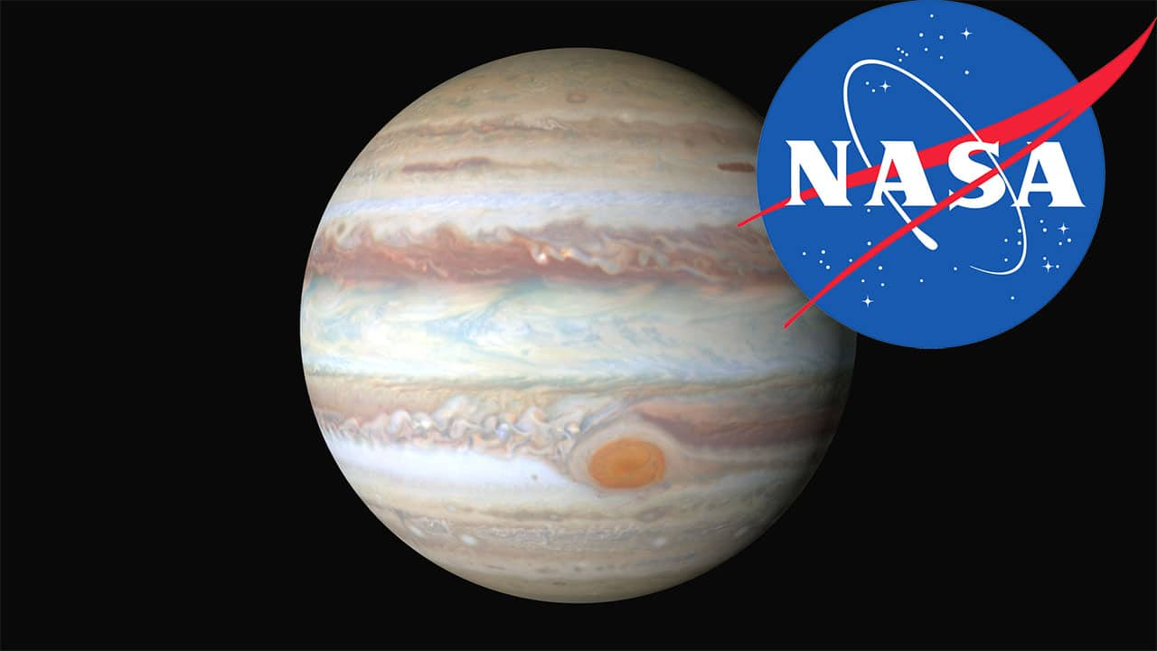 NASA logo in front of an image of Jupiter.