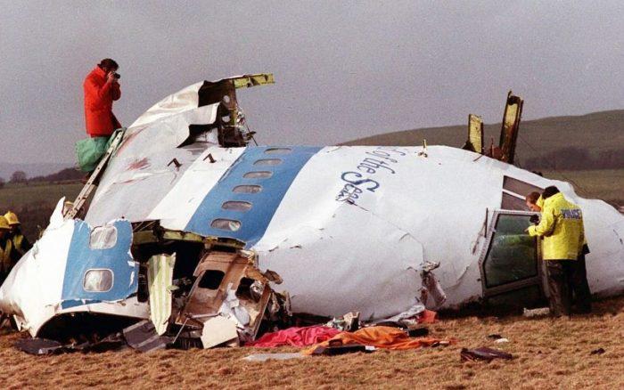 Crashed plane over Lockerbie