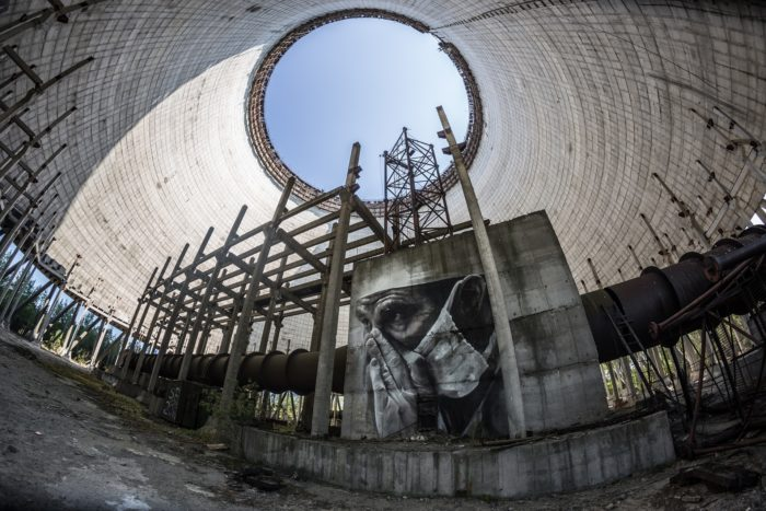 The crippled Chernobyl plant tower