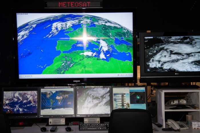 Picture showing monitors watching the weather