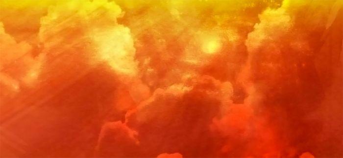 Bright orange cloud.