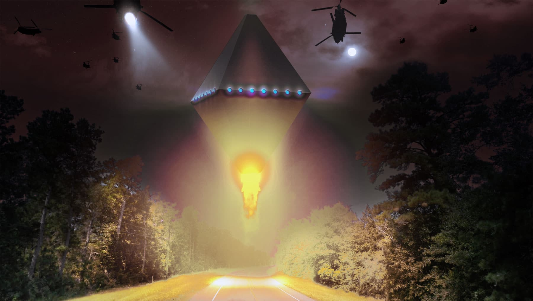 Artist's rendition of the Cash Landrum UFO Incident.