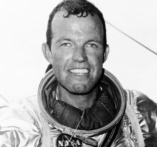 Astronaut Gordon Cooper in his space suit.