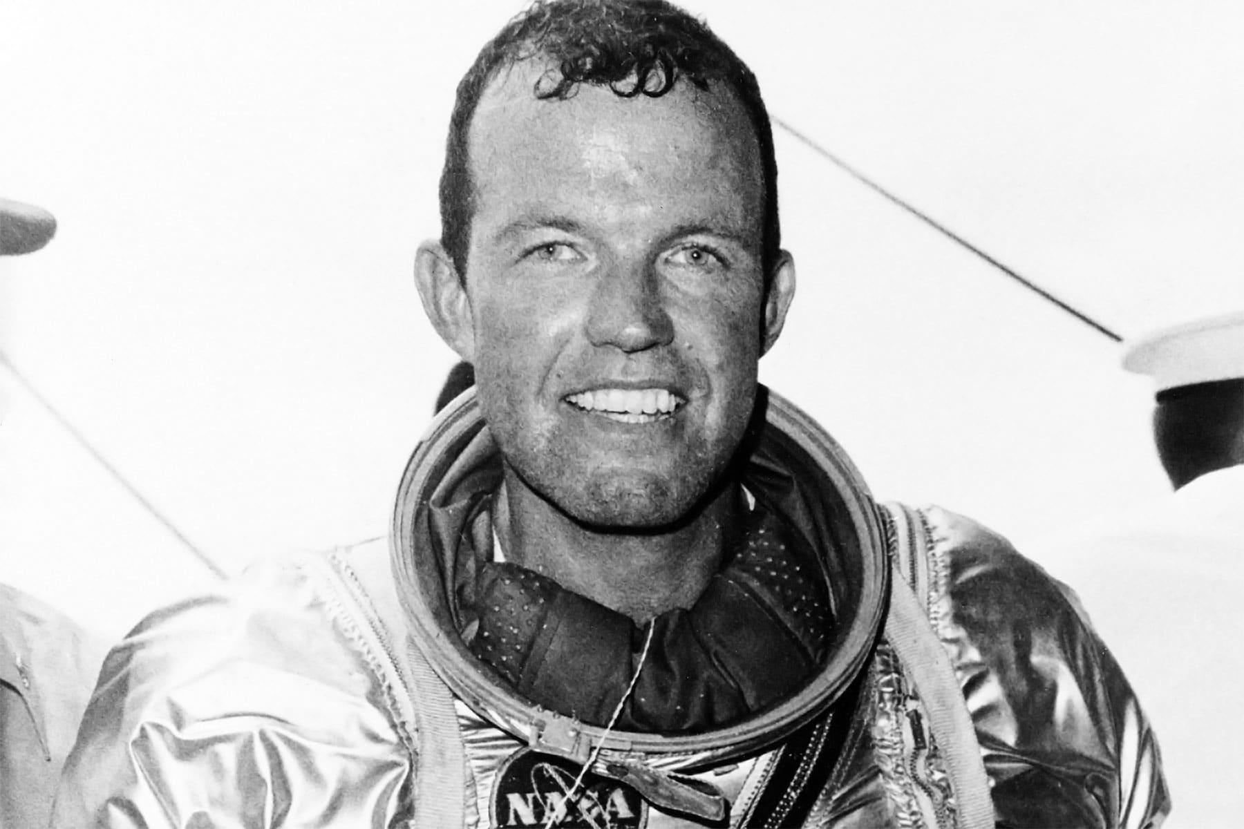 Astronaut Gordon Cooper in his space suit.