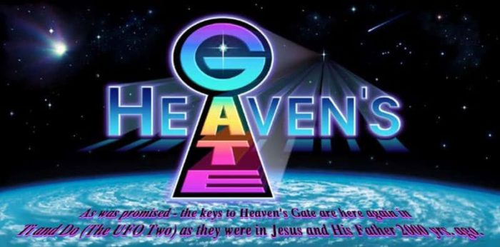 Heaven's Gate logo and their delusional proclamation.